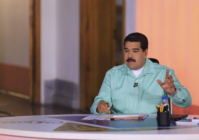 Nicolás Maduro durante seu pronunciamento semanal En contacto con Maduro em Caracas