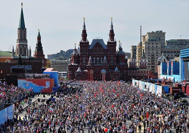 A ação Regimento Immortal na Praça Vermelha