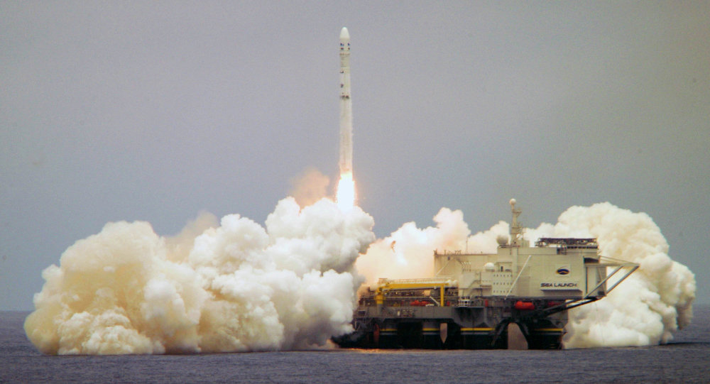 O cosmódromo flutuante Sea Launch durante lançamento do foguete portador Zenit-3SL (foto de arquivo)