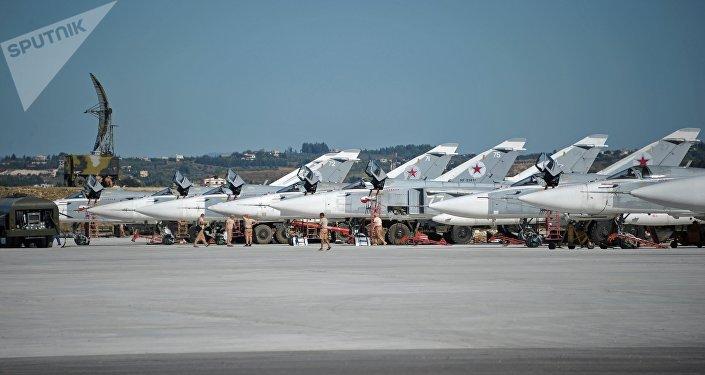 Aviação russa na base de Khmeimim, província de Latakia