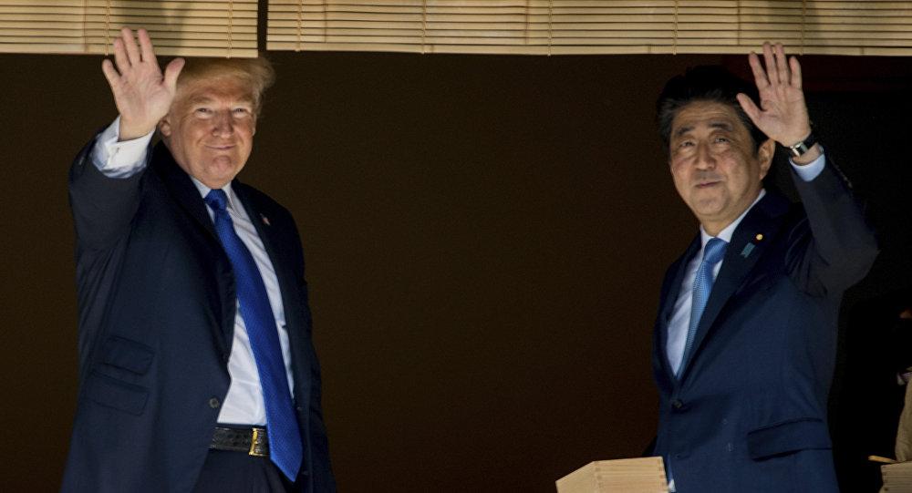 Presidente dos EUA Donald Trump e o primeiro-ministro do Japão Shinzo Abe