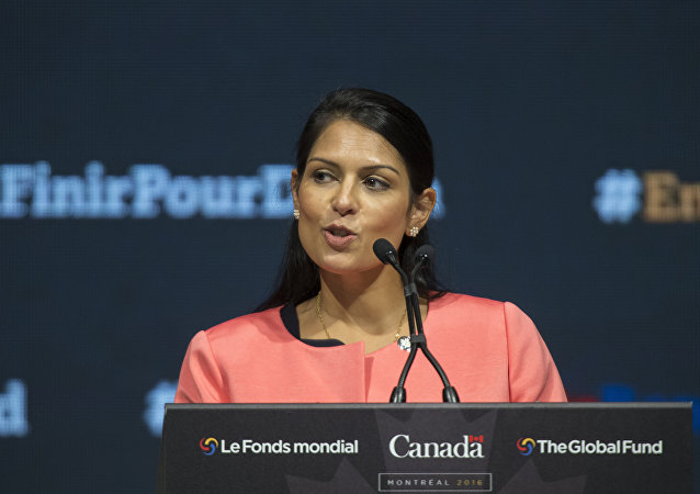 Priti Patel, the United Kindom's Secretary of State for International Development speaks at the closing of the Fifth Replenishment Conference of the Global Fund to Fight AIDS, Tuberculosis and Malaria in Montreal, Quebec, September 17, 2016