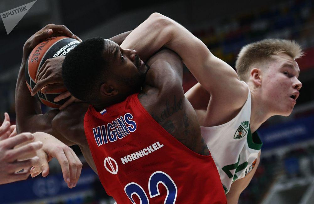 Jogo de basquete entre as equipes CSKA (Rússia) e Zalgiris (Lituânia)