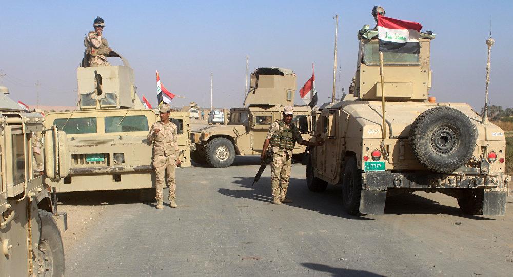 Tropas iraquianas na cidade de Rawa, Iraque