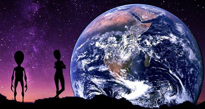 Um extraterrestre e um ser humano perto da Terra (ilustração artística)