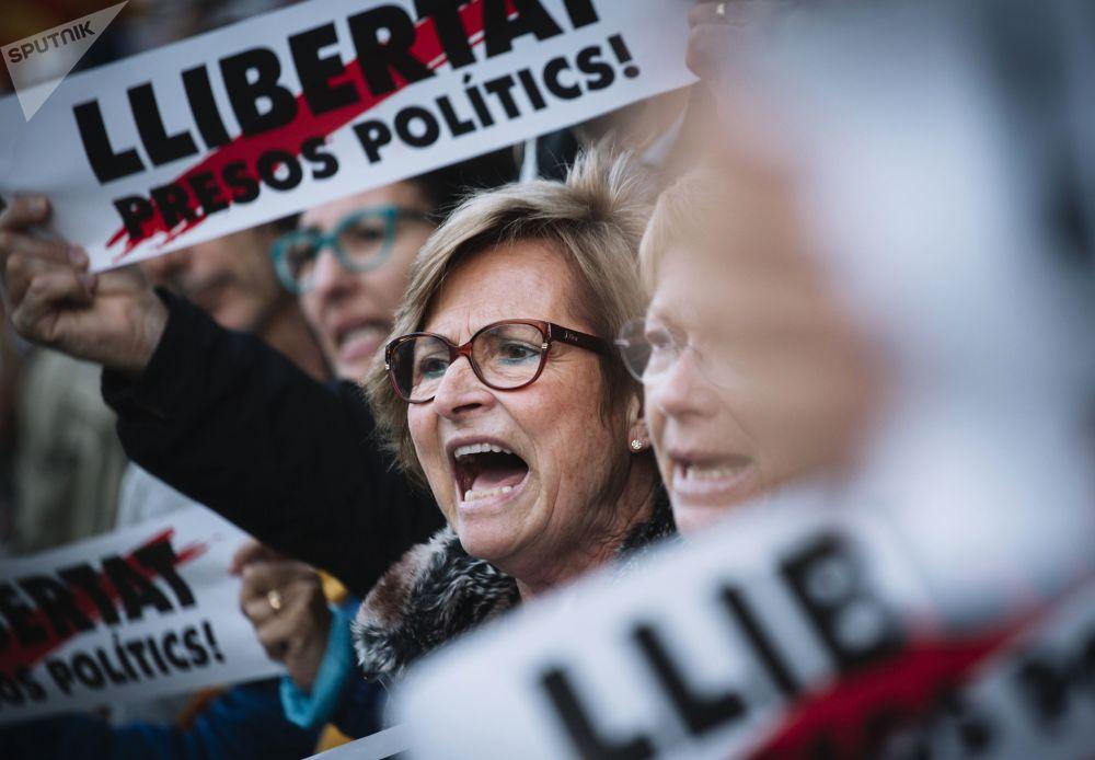 Comício de partidários da independência da Catalunha