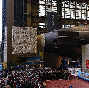Lançamento do submarino russo Knyaz Vladimir à água
