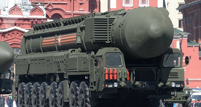 Míssil balístico intercontinental An RS-24 Yars / SS-27 Mod 2 em Moscou