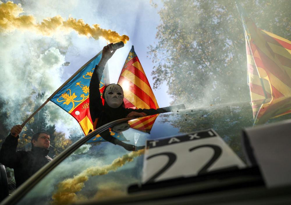Greve de taxistas em Madri