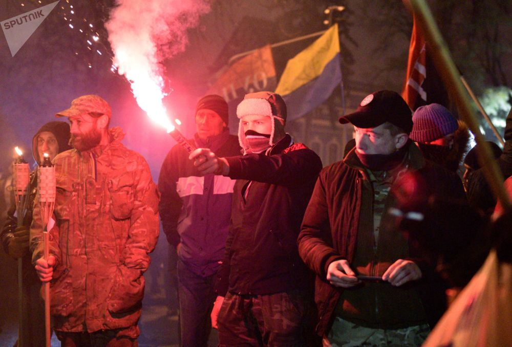 Marcha em Kiev dedicada aos acontecimentos de 2014, o assim chamado Maidan