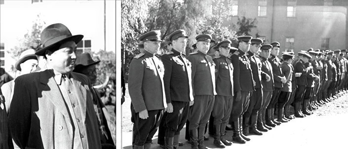 """O líder norte-coreano Kim Il-sung durante a cerimônia de entrega de medalhas aos soldados soviéticos """"Pela libertação da Coreia"""""""