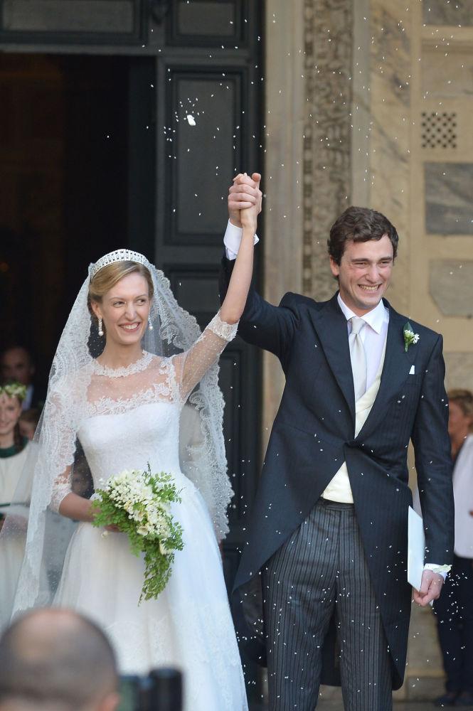 Jornalista Elisabetta Rosboch von Wolkenstein com seu marido, o príncipe belga Amedeo