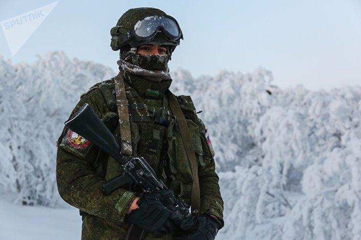 Um fuzileiro naval russo