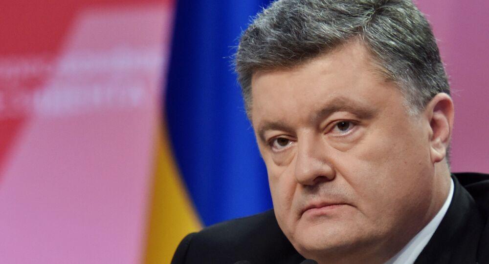 O presidente da Ucrânia, Pyotr Poroshenko, durante coletiva de imprensa em Kiev (arquivo)