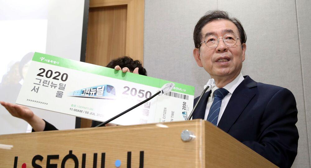 O prefeito de Seul, Park Won-soon, em evento na prefeitura da capital sul-coreana em 8 de julho de 2020.