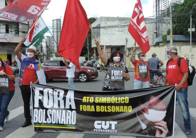 Ato do Dia Nacional de Mobilização 'Fora, Bolsonaro' em Recife, Pernambuco