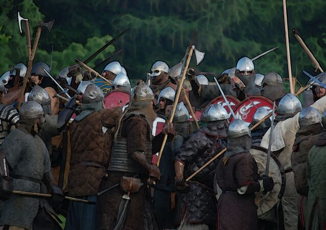 Imagem de vikings lutando