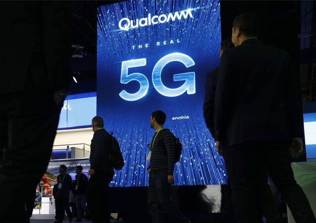 Publicidade da rede 5G desenvolvida pela empresa Qualcomm dos EUA
