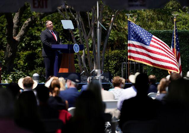 Secretário de Estado dos EUA, Mike Pompeo, discursa em Yorba Linda, Califórnia, EUA, 23 de julho de 2020
