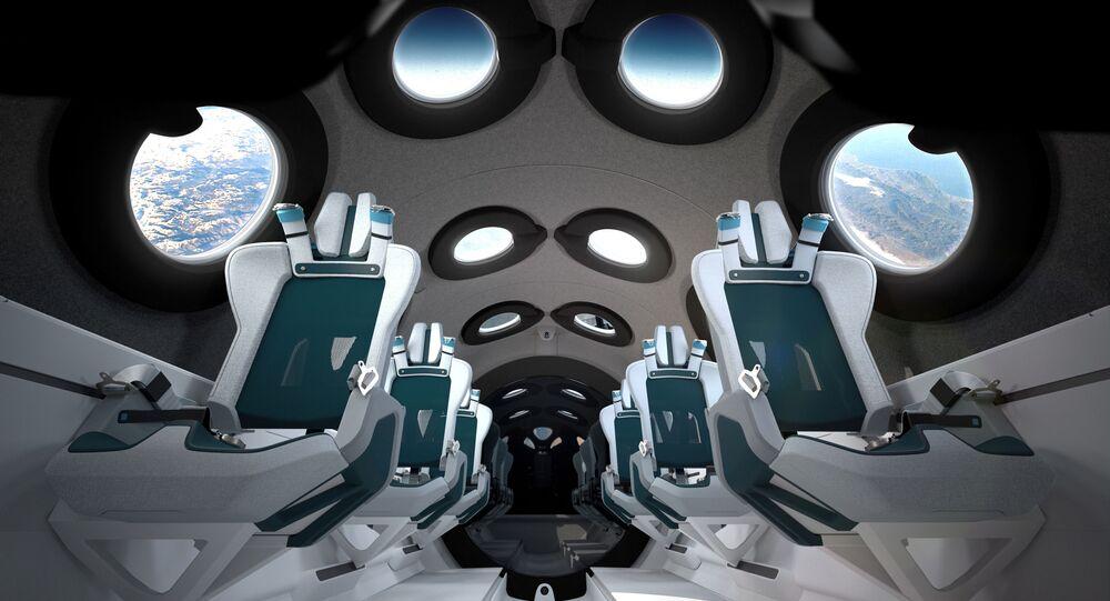 Cabine da SpaceShipTwo da empresa de turismo espacial Virgin Galactic, 28 de julho de 2020