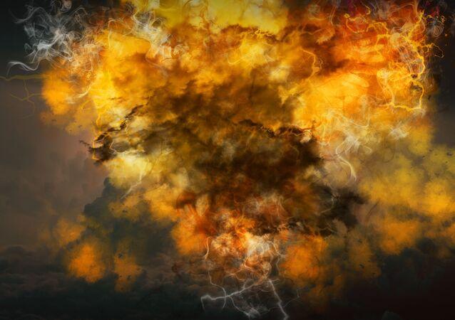 Representação artística de explosão espacial