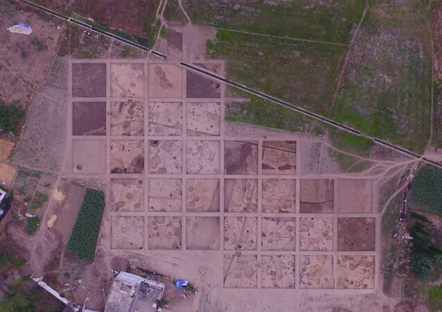 Sítio arqueológico nos arredores da cidade de Guanghan, província de Sichuan, na China