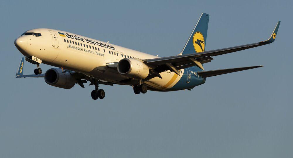 Avião ucraniano Boeing 737-800 UR-PSR que caiu em 8 de janeiro de 2020, nos arredores de Teerã, Irã, visto durante a aterrissagem no Aeroporto Internacional de Kiev-Borispil, Ucrânia, 13 de setembro de 2019