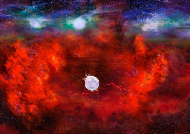 Representação artística da supernova SN1987A