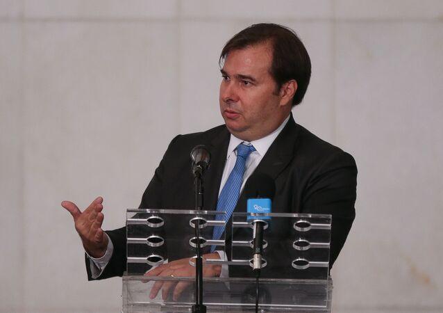 Presidente da Câmara dos Deputados, deputado Rodrigo Maia (DEM-RJ), durante coletiva de imprensa em esquema especial por conta do coronavírus