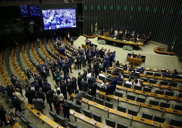 Em Brasília, sessão solene de abertura abre o ano legislativo no plenário da Câmara dos Deputados, em 3 de fevereiro de 2020.
