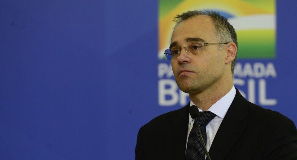 Ministro da Justiça e Segurança Pública, André Mendonça, durante a cerimônia de posse no Palácio do Planalto, 29 de abril de 2020