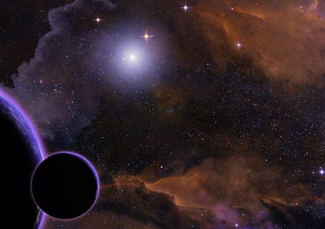 Representação artística de exoplaneta, satélite e estrela