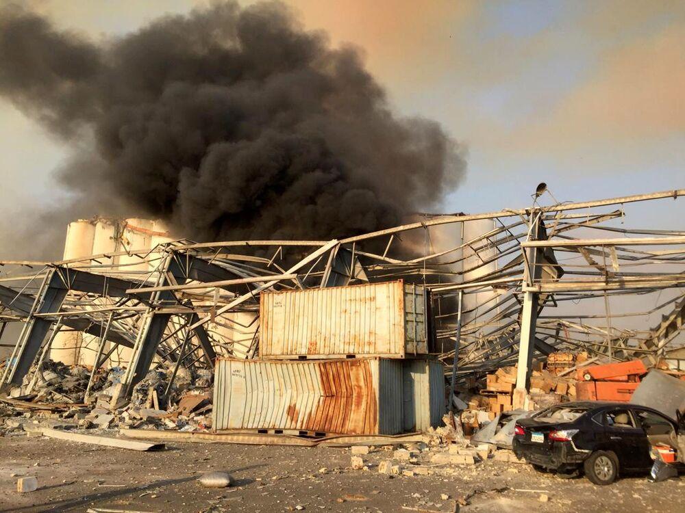 Escombros e destruição dominaram a paisagem na região portuária em Beirute
