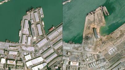 Imagens de satélite da Airbus DS comparam o porto de Beirute em 25 de janeiro e em 5 de agosto após a explosão que danificou boa parte da capital libanesa