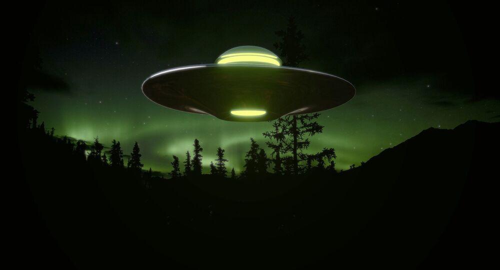Ilustração gráfica de um OVNI