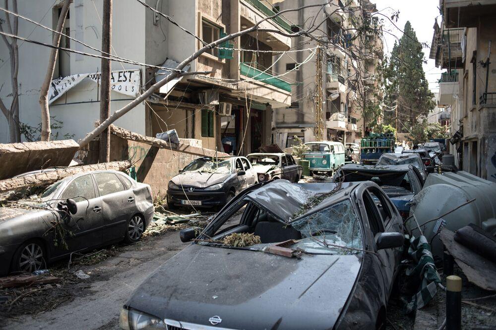 Estrago causado pela explosão em Beirute