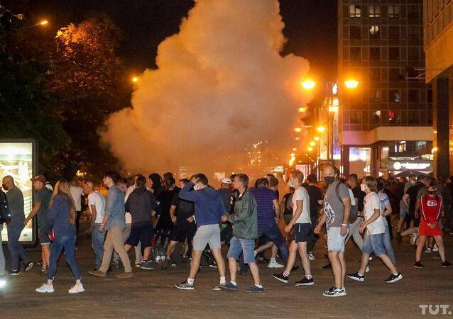 Protesto após as eleições presidenciais na Bielorrússia.