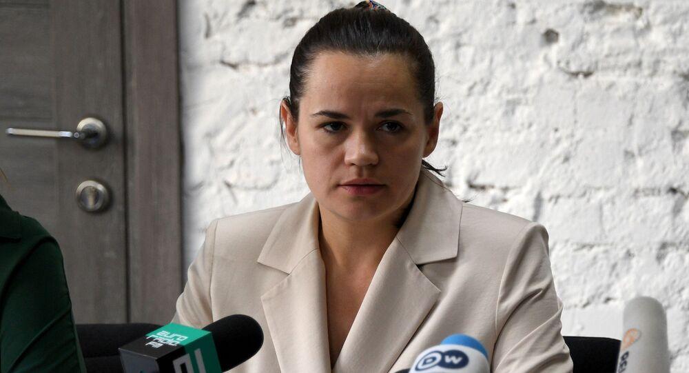 Opositora e candidata à presidência da Bielorrússia Svetlana Tikhanovskaya em coletiva de imprensa em Minsk