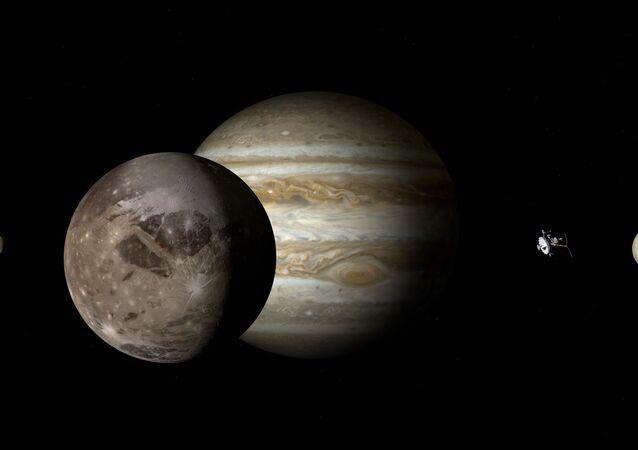 Representação artística de Júpiter e de alguns de seus satélites