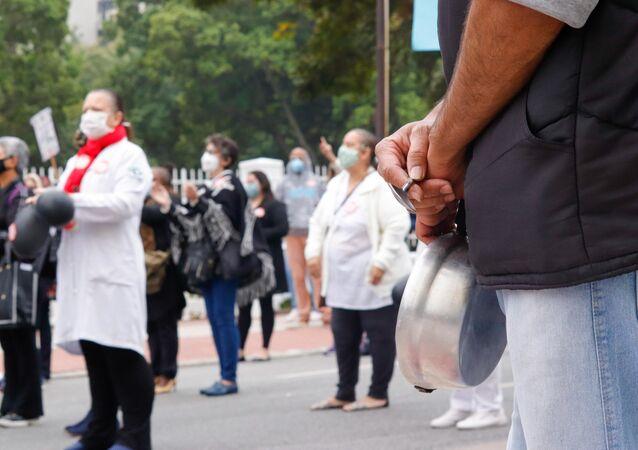 Funcionários do Hospital do Servidor Público, em São Paulo, realizam protestos contra péssimas condições de trabalho