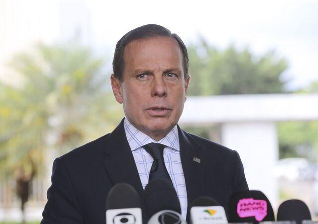 Governador de São Paulo, João Doria, concede entrevista coletiva à imprensa.