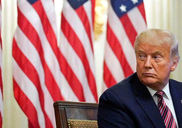 Presidente dos EUA, Donald Trump durante evento na Casa Branca, Washington, EUA, 12 de agosto de 2020