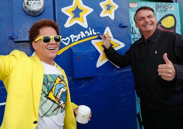 Presidente do Brasil, Jair Bolsonaro, visita estúdio do artista plástico, Romero Britto, em Miami, EUA, 9 de março de 2020