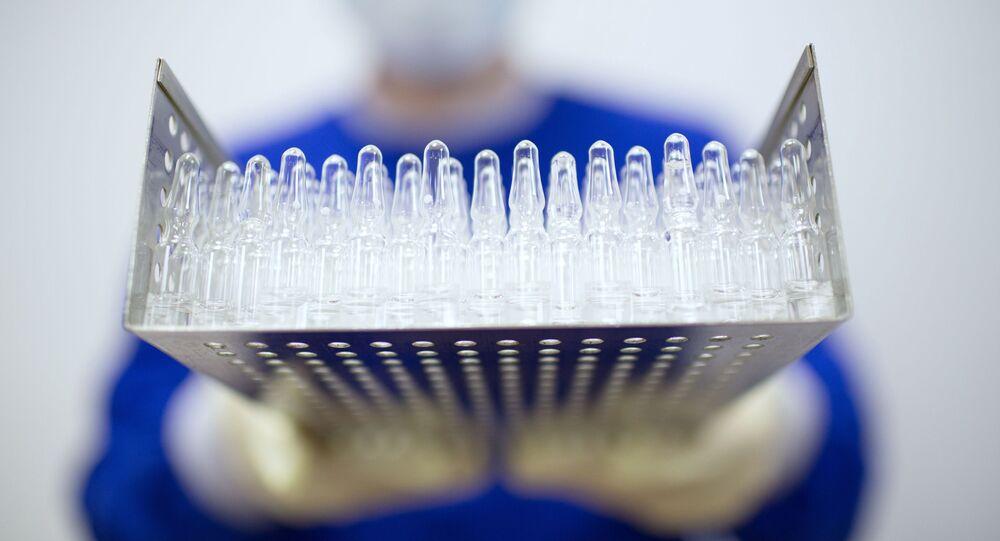 Produção de vacina contra SARS-CoV-2 na fábrica farmacêutica Binnofarm (parte do Grupo Sistema), região de Moscou, Rússia