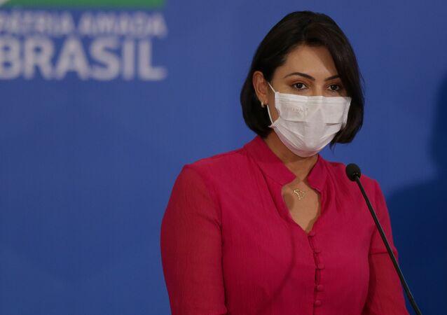 Em Brasília, a primeira-dama Michelle Bolsonaro, durante evento em 29 de julho de 2020.