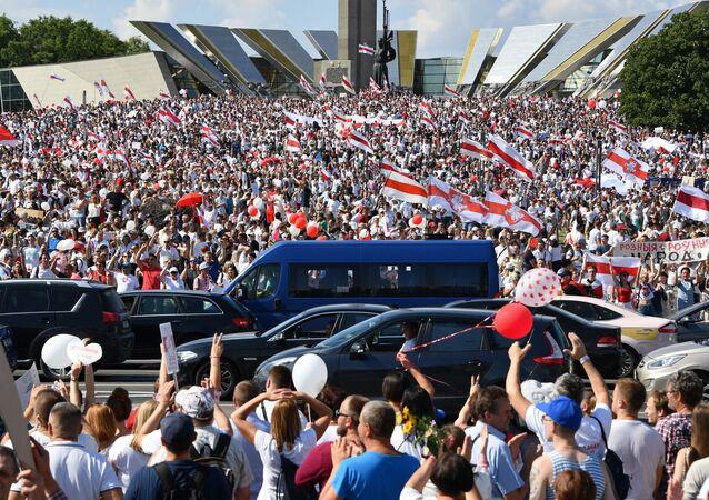 Protesto da oposição bielorrussa em Minsk