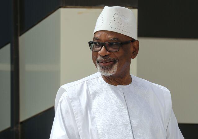 Presidente do Mali, Ibrahim Boubacar Keita, na Mauritânia, em 30 de junho de 2020.