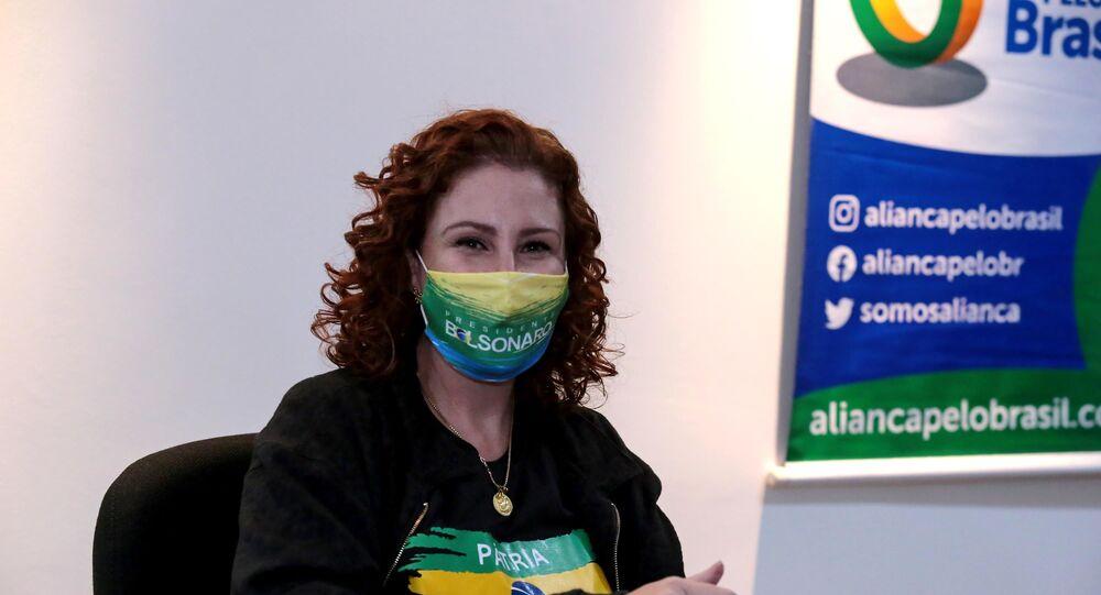 Deputada Federal Carla Zambelli durante encontro com parlamentares e apoiadores do Aliança pelo Brasil em Brasília