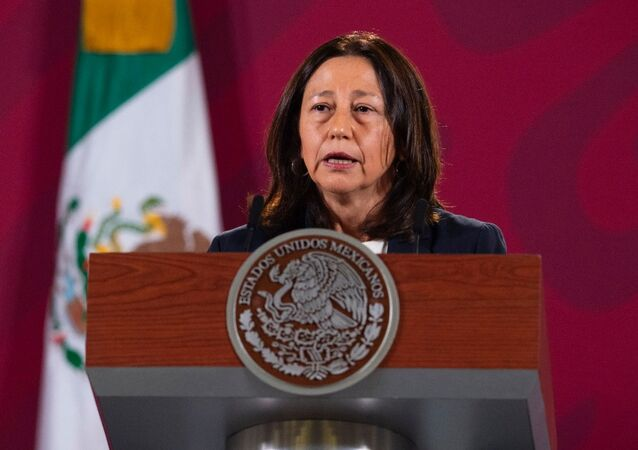 Sylvia Varela, chefe da AstraZeneca México, fala sobre a produção de uma vacina contra COVID-19 sob um acordo entre os governos mexicano e argentino, e a empresa farmacêutica AstraZeneca durante uma coletiva de imprensa no Palácio Nacional na Cidade do México, México, 13 de agosto de 2020