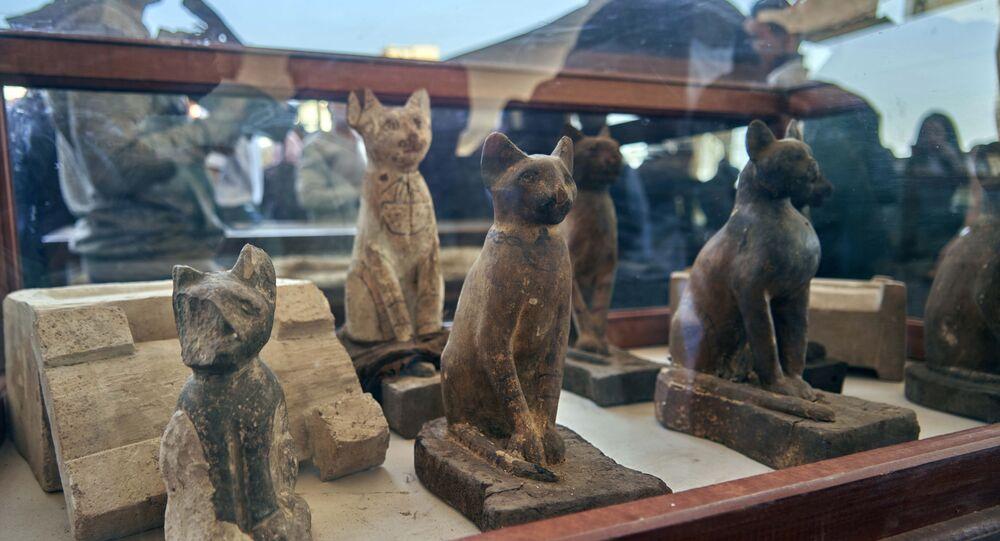 Extensa coleção de 75 estátuas de madeira e bronze de gatos de diferentes formas e tamanhos, exposta em Saqqara, sul de Giza, Egito, 23 de novembro de 2019